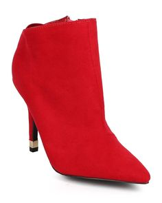 Qupid DF84 Women Suede Pointy Toe Tailored Stiletto Mule Bootie - Red >>> Click image to review more details.