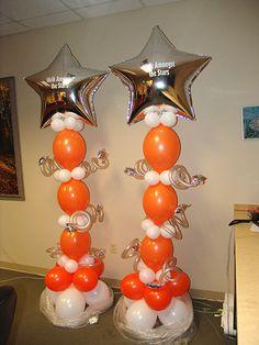 Star Studded Balloon Columns. Balloon column.  #balloon-column #balloon-decor