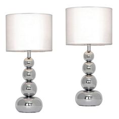 Pair Of Marissa Chrome Touch Table Lamps Whites