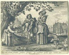 Daniël van den Bremden | Lente, Daniël van den Bremden, Adriaen Pietersz. van de Venne, Herri le Roy, 1625 - 1630 | Een jong paar wandelt in buiten met een hond. Op de achtergrond een kasteel met een gracht eromheen. De man koopt een boeketje bij een bloemvrouwtje langs de weg. Voorstelling van de lente uit een prentserie met de vier seizoenen.