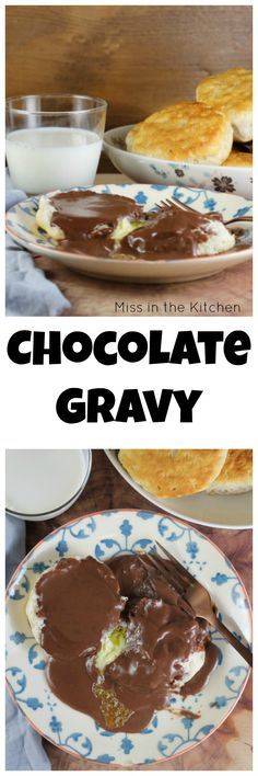 Homemade Chocolate Gravy is one of my all- time favorite breakfasts from childhood. It's the perfect weekend treat and chocolate for breakfast is always a great idea! HOW TO MAKE CHOCOLATE GRAVY VIDEO What's For Breakfast, Savory Breakfast, Breakfast Dishes, Breakfast Recipes, Chocolate Gravy Recipe, Homemade Chocolate, Chocolate Recipes, Easy Desserts, Delicious Desserts