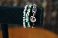 3 wrap leather beaded bracelet by Projectbabyshuford on Etsy
