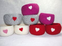 Handmade Wool Felted Valentine Bowls with Needle by Susietoos, $16.00