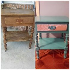 Before and after of the bedside table I upcycled with beachy blue paint and decoupaged drawer.