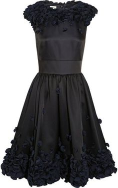 Flora Ruffle Appliquéd Satin Dress - Lyst