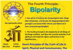 The Fourth Principle: Bipolarity   4. Das vierte Prinzip ist die Zweipoligkeit aller Dinge alles Existenten, und so also die Gegenpoligkeit aller geistigen und materiellen Werte und Faktoren in ihrer Zusammengehörigkeit.   4. The fourth principle is the bipolarity of all things of all things existent, and thus the counter-polarity of all spiritual and material values and factors in her togetherness.   Seven Principles of the Truth of Life in Spirit, Physical and Consciousness, The   First…