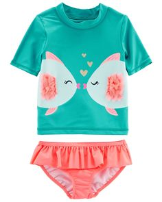 Baby Girl Carter's Fish Rashguard Set | Carters.com