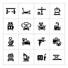 Set icons of car service equipment. Infographic Elements. $5.00