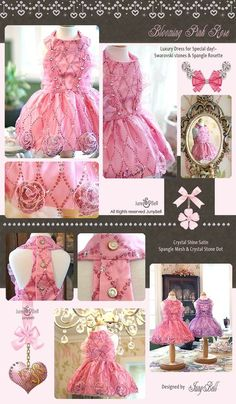 New!!Blooming Rose Dress With Swarovski Crystals! Stunning!
