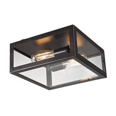 Windee Edison Flush Mount is a uniquely designed clear glass flush mount lighting fixture. This simple yet elegant, rectangular glass lighting fixture will add a contemporary touch to your home. Addin