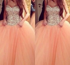2015 Hot Coral Quinceanera Dresses Ball Gown Sweetheart Backless Beaded Crystal Ruffles Floor-Length Cheap Tulle Formal Evening Dress
