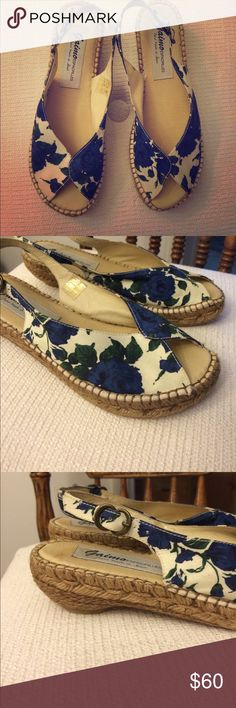 Gaimo Espadrilles Gaimo floral blue roses peep toe espadrilles sling back spring sandals with adjustable strap. Hand made in La Rioja,Spain. Cushioned Leather footbed and insole. Tagged 38 (fits 7.5-8) Gaimo Shoes Espadrilles
