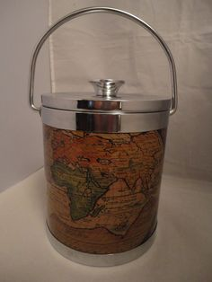 SOLD! please call again :) #Vintage #Retro 1970 s Ice Bucket Old Maps Made in Japan Kitsch Bar Cocktails