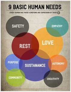 Nine Basic Human Needs www.cherischultz.com #cherischultz #inspiration                                                                                                                                                                                 More