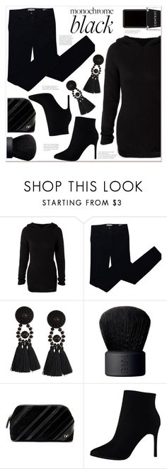 """monochrome:  black"" by mycherryblossom ❤ liked on Polyvore featuring Tory Burch, NARS Cosmetics, Diane Von Furstenberg, Context and allblack"
