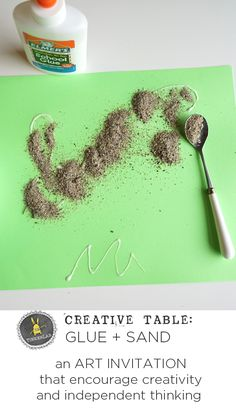 An easy Art Invitation with Glue and Sand that encourages creativity and independent thinking From the Creative Table Series TinkerLab Beach Activities, Activities For Kids, Indoor Activities, Sand Crafts, Nature Crafts, Preschool Crafts, Kids Crafts, Beach Crafts For Kids, Popsicle Stick Crafts For Kids