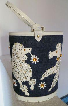 Collins Of Texas Poodles Bucket Bag Vintage Luggage Bags Handbags