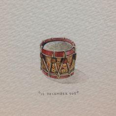 Day 346 : Little Drummer Boy Joshie. 15 x 18 mm. #365paintingsforants #miniature #watercolour #drum (at Vredehoek)
