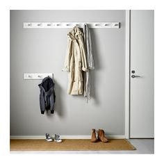 IKEA KUBBIS rack with 7 hooks Solid wood is a hardwearing natural material. Entrada Ikea, Entryway Hooks, Couple Room, Hanger Rack, Hook Rack, Small Storage, Staying Organized, Wall Spaces, Ikea Hack