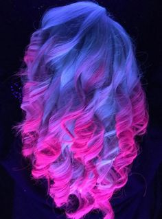 Electric glow in the dark purple pink ombre dyed hair color @vpfashion