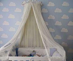 Decoração simples, quarto do meu bebê (menino) mosquiteiro dossel
