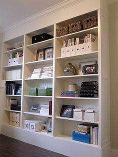 Ikea BILLY bookcases: hacked to look like built-ins (backing replaced with bedboard, crown added, base built up, end panel added to one side etc. Ikea Billy Bookcase, Built In Bookcase, Office Bookshelves, Bookshelf Design, Home Office Furniture, Diy Furniture, Furniture Plans, Billy Ikea, Bookcase Styling