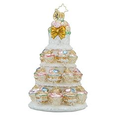 Christopher Radko Tiers of Joy Bridal Wedding Cake Themed Glass Christmas Ornament