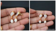 Small earrings For everyday office use Natural pearl and american diamonds gold plated earrings