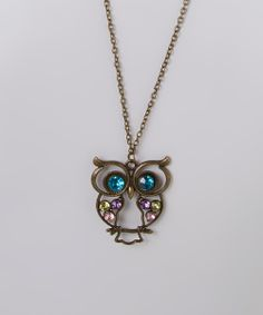Antique Bronze & Rhinestone Owl Pendant Necklace
