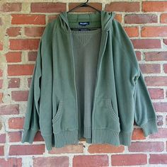 Short sleeve sweater and jacket combo Both pieces are a pretty olive green. Shirt is 100% cotton and matching sweater is 100% polyester with a hood. Never worn so they're in perfect shape and are quite soft. Size 2X Denim & Co Tops Sweatshirts & Hoodies