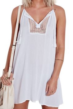 White Spaghetti Strap Hollow Dress