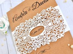 Ivory Roses Kraft laser cut wedding invitation