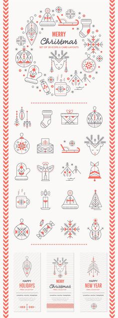 Collection of Christmas design elements: 20 icons, card layouts, backgrounds, package design etc. Thin line style with tribal / ancient symbols. Christmas Icons, Christmas Poster, Christmas Graphics, Modern Christmas, Christmas And New Year, Christmas Art, Christmas Layout, Christmas Graphic Design, Christmas Illustration Design