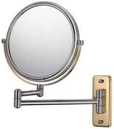 Mirror Image 21145 Double Arm Wall Mirror, Diameter, and Magnification, Chrome Wall Mounted Mirror, Round Wall Mirror, Double Sided Mirror, Magnifying Mirror, Mirror Image, Chrome Finish, Nickel Finish, Shopping, Mirrors