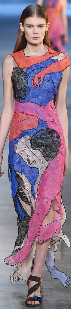 It's a masterpiece on the runway, art in motion, for sure. This is a truly sophisticated print, love the arms and legs embracing the body. This dress is Trendtastic!  Follow RUSHWORLD! We're on the hunt for everything you'll love!      Christopher Kane, designer.