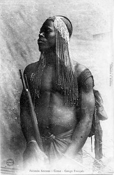 Africa |Pahouin Amvom man (Fang people) from the Como region. French Congo (Brazzaville) | Postcard image. Photographer J. Audema. ca. 1905