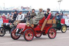 The end of the London to Brighton veteran car run at Brighton's Madeira Drive