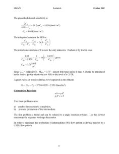 IDEAL REACTORS (CHE 471) M.P. Dudukovic Chemical Reaction ...