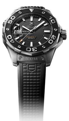 Aquaracer 500M Calibre 5 Diving watch (black, withe rubber strap)