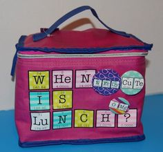 NEW Claire's WHEN IS LUNCH Periodic Table Lunch Bag with Button BTS Insulated #Claires