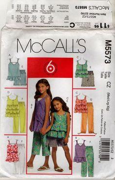 M5573 CHILD GIRL TOP SHORTS CAPRI PANTS McCalls PATTERN SIZE CZ M-L-XL (7-16)…