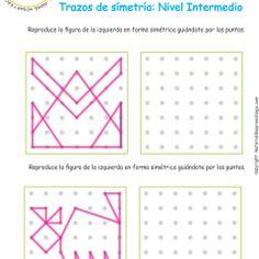 Ejercicio 05 nivel intermedio: Actividades escolares de trazos de simetría para desarrollar la memoria y la atención con los niños.