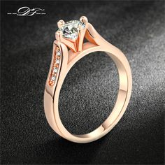 CZ Diamond 1ct Wedding Ring Wholesale 18K Rose/White Gold Plated Crystal Paved Fashion Jewelry For Women anel joias DFR065M  Price: US $7.95  Sale Price: US $2.31  #dressional
