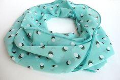 mint green chiffon infinity scarf ,scarves ,spring summer fashion accessories / eternity scarf