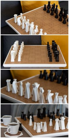 PLAY, PLANT, PLACE with PLA Concept! Modern Handmade Aesthetic Design Products - Most of our are made from strong and durable but they all started with PLA - Modern Chess Set, Chess Set Unique, Luxury Chess Sets, Chess Pieces, 3d Prints, Aesthetic Design, Wood Toys, Wood Art, Diy Gifts