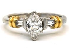 A perfect combination of white & yellow gold, featuring a Marquise cut center diamond, Embraced by baguette cut diamonds Gold Diamond Rings, Diamond Cuts, Marquise Cut, Engagement Rings, Jewelry, Women, Jewellery Making, Women's, Enagement Rings