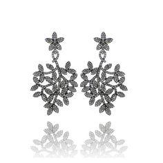 925 Sterling Silver Genuine Diamond Antique Earrings 14kt Gold Earrings Jewelry Natural Diamond Leaf Style Women Jewelry VDJER-11718