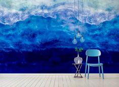Shadows of the Deep Deep Blue Sea Wallpaper Mural by Melissa Renee fieryfordeepblue Art & Design seen at Creator's Studio, Helsinki | Wescover Accent Wallpaper, More Wallpaper, Creator Studio, Deep Blue Sea, Wall Installation, New Artists, Helsinki, Designer Wallpaper, Shadows