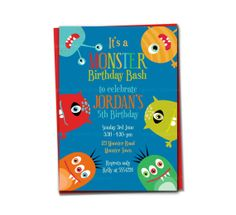 Funny Monster Printable Invitation DIY by TracyAnnPrintables, $15.00