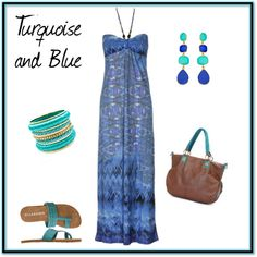 """""""Turquoise and Blue"""" by wick on Polyvore"""